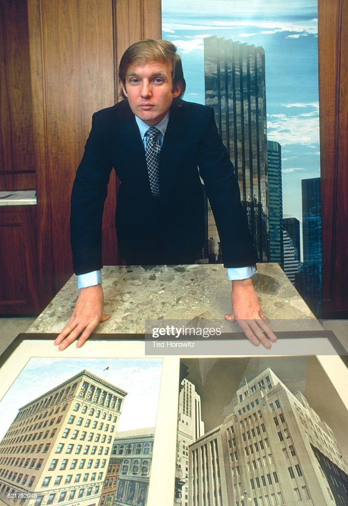 Donald Trump with rendering of Trump Tower building, NYC, 1980. : Stock Photo