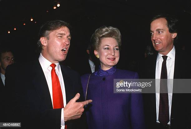 Donald Trump with sister Maryanne Trump Barry and brother Robert Trump attend the Trump Taj Mahal opening April 1990 in Atlantic City New Jersey