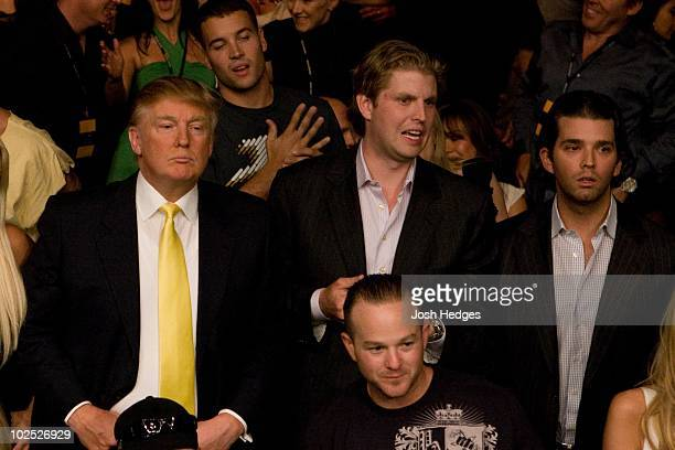 Donald Trump with sons Eric Trump and Donald Jr Trump during the UFC 84 at MGM Grand Arena on May 24 2008 in Las Vegas Nevada