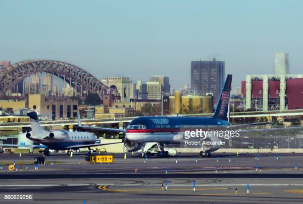 Donald Trump's Boeing 757 parked at LaGuardia Airport in New York New York
