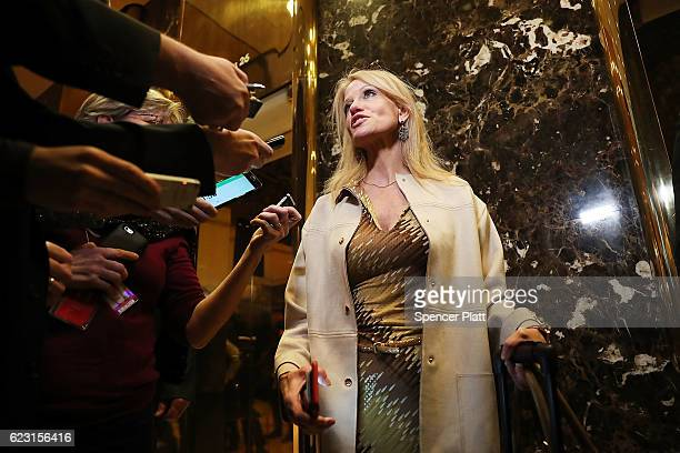 Donald Trump's campaign manager Kellyanne Conway speaks to the media while entering Trump Tower on November 14 2016 in New York City Conway is...