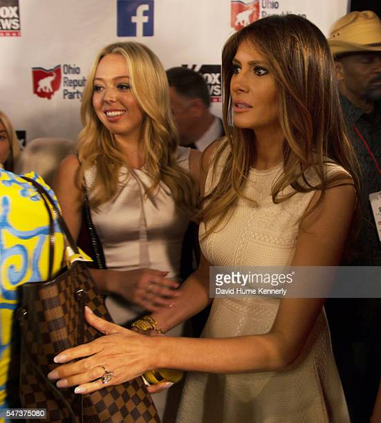 Donald Trump's daughter Tiffany wife Melania wait backstage at the first televised Republican Party debate at the Quicken Loans Arena in Cleveland...