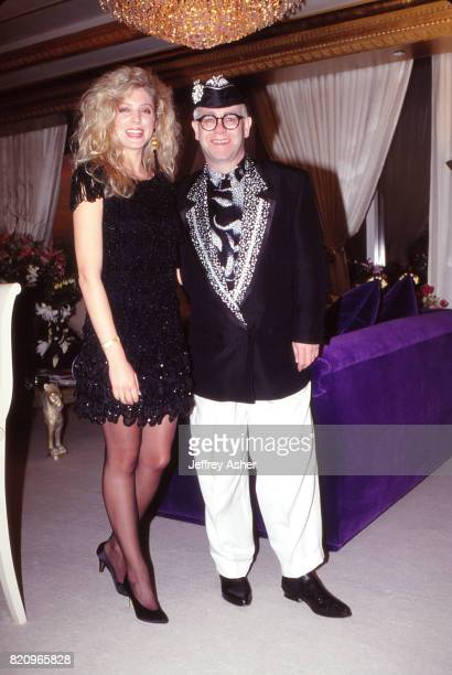 Donald Trumps Friend Marla Maples and Singer Songwriter Elton John in Suite at The Taj Mahal Casino Hotel during grand opening in Atlantic City, New...