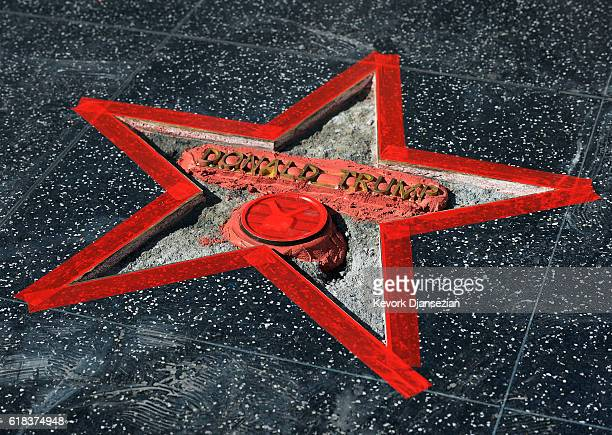 Donald Trump's Hollywood Walk Of Fame Star is repaired after it was vandalized October 26 2016 in Hollywood California