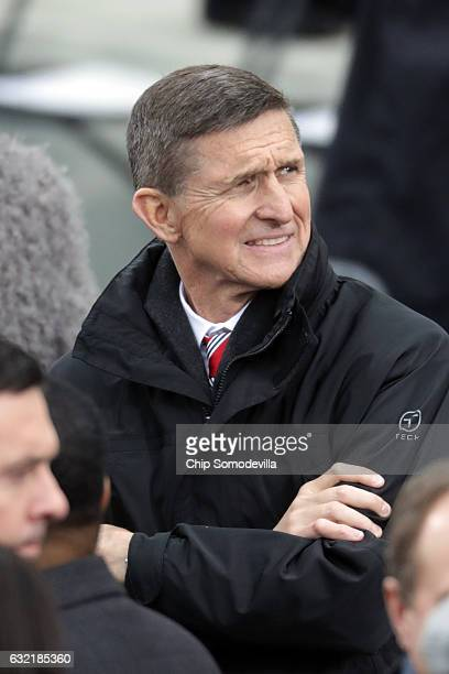 Donald Trump's National Security Adviser Gen Michael T Flynn arrives on the West Front of the US Capitol on January 20 2017 in Washington DC In...