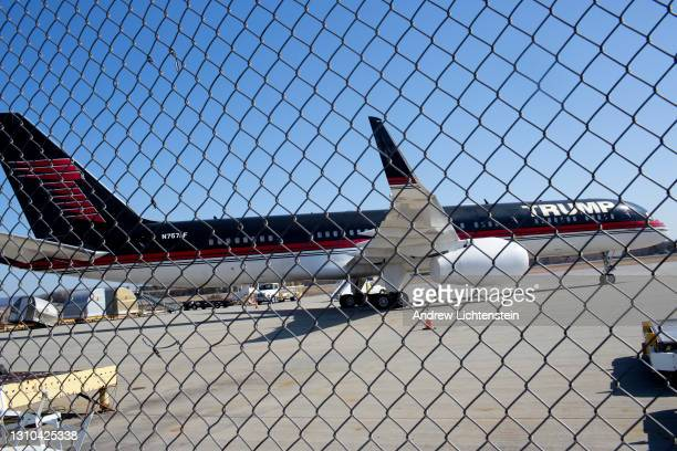 Donald Trump's personal 757 airplane sits at the edge of a runway in need of repairs, where it has been unused since Joe Biden's inauguration, on...