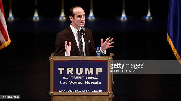 Donald Trump's senior policy adviser Stephen Miller speaks during a rally for Republican presidential candidate Donald Trump at the Treasure Island...
