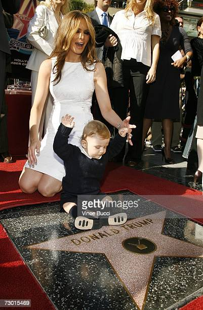 Donald Trump's wife Melania Trump and son Baron attend the ceremony honoring him with a star on the Hollywood Walk of Fame on January 16 2006 in...