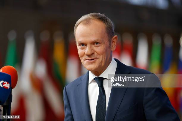 Donald Tusk European Council President is arriving to the Europa building in Brussels Belgium for European Council summit on December 14 2017
