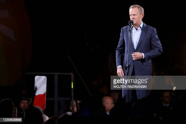 Donald Tusk, leader of the Polish opposition party Civic Platform, addresses participants of a pro-EU demonstration over a ruling of the...