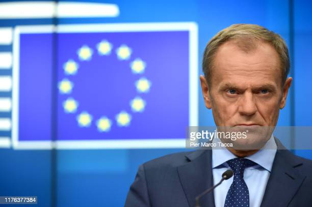 Donald Tusk, President of European Council speaks at the press conference at European Council Meeting on October 17, 2019 in Brussels, Belgium. EU...
