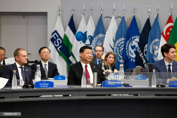 Donald Tusk president of the European Council from left Xi Jinping China's president Justin Trudeau Canada's prime minister attend the plenary at the...