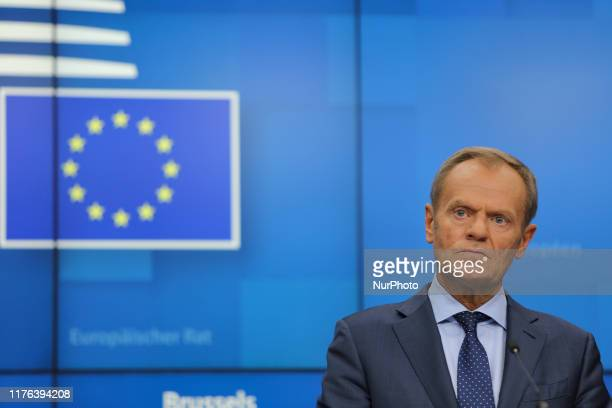 Donald Tusk, president of the European Council in a press conference - media briefing statement about Brexit and article 50 during the European...