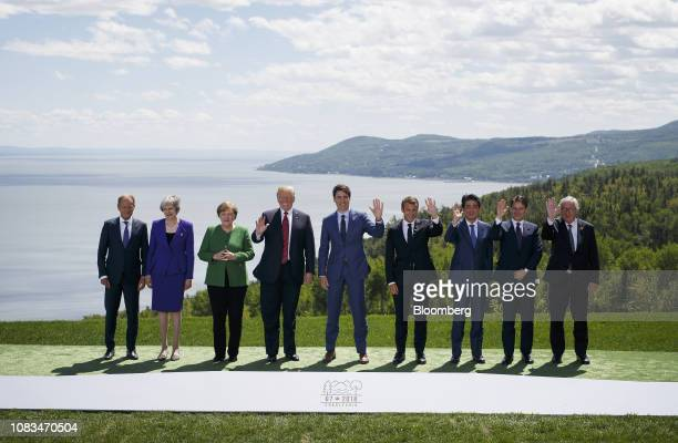 Donald Tusk president of the European Union from left Theresa May UK prime minister Angela Merkel Germany's chancellor US President Donald Trump...