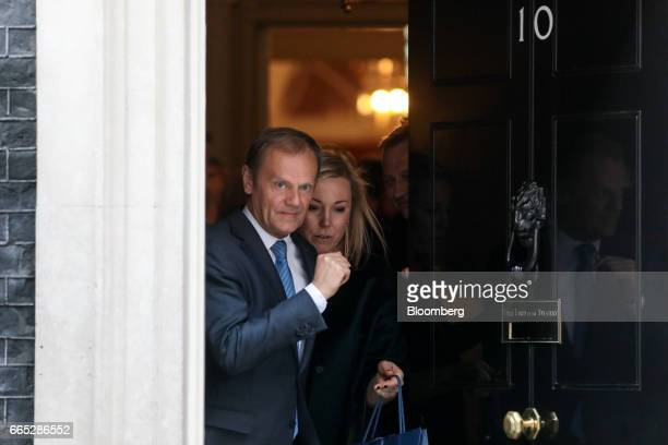 Donald Tusk president of the European Union leaves number 10 Downing Street following his meeting with UK Prime Minister Theresa May in London on...
