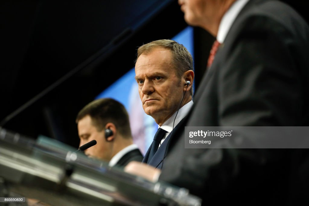 Donald Tusk, president of the European Union (EU), looks on during a news conference at a summit of 27 European Union (EU) leaders in Brussels, Belgium, on Friday, Dec. 15, 2017. European Union leaders formally agreed that the U.K. has offered enough on the divorce settlement for talks to move on to trade. Photographer: Dario Pignatelli/Bloomberg via Getty Images