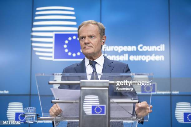 Donald Tusk president of the European Union pauses during a news conference at the EU leaders summit in Brussels Belgium on Friday June 29 2018 EU...