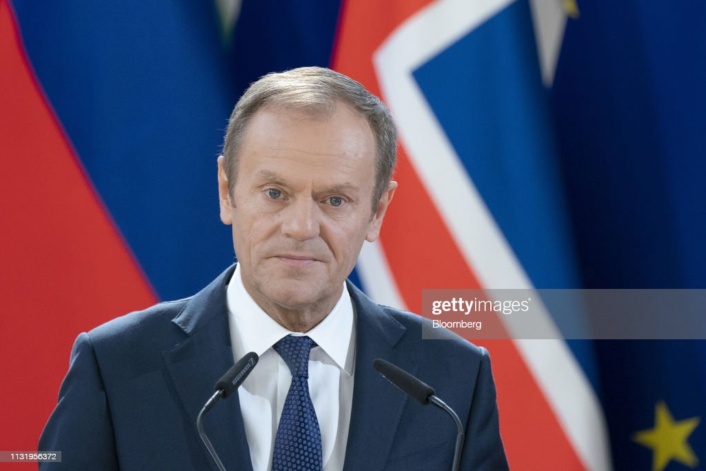 Donald Tusk, president of the European Union , pauses while