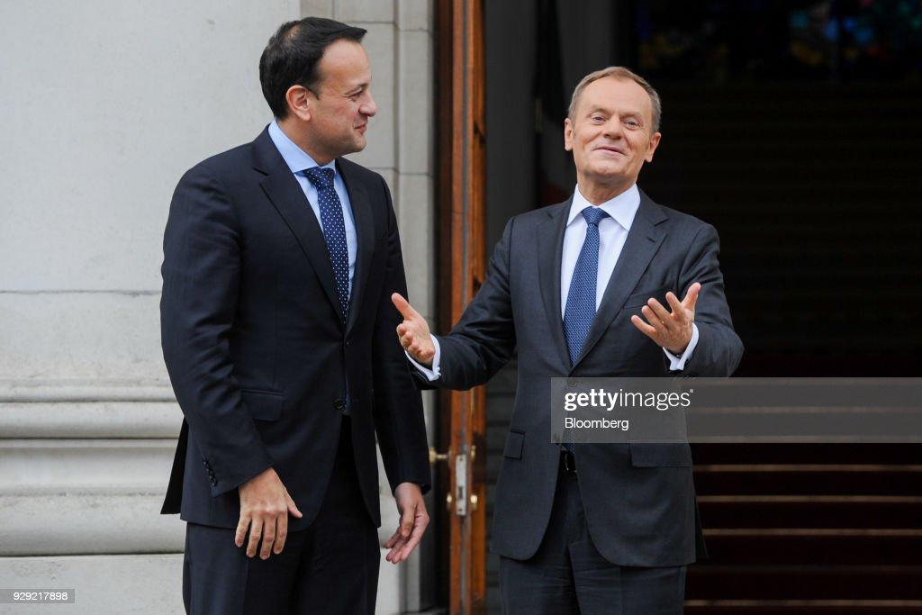 Donald Tusk, president of the European Union (EU), right, reacts as he speaks with Leo Varadkar, Ireland's prime minister, at the Government Buildings in Dublin, Ireland, on Thursday, March 8, 2018. The U.K. is beginning to understand the strength of the European Unions negotiating power, Varadkar said. Photographer: Aidan Crawley/Bloomberg via Getty Images