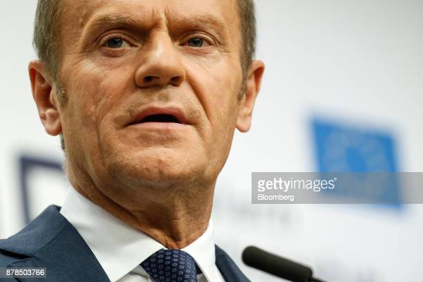 Donald Tusk president of the European Union speaks during a news conference following the Eastern Partnership Summit at the Europa building in...