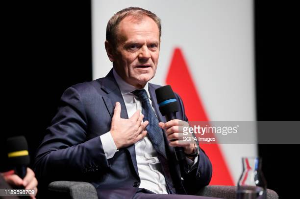 Donald Tusk speaking during the event. Donald Tusk book promotion event was held at the European Solidarity Centre, Donald Tusk is co-founder of the...
