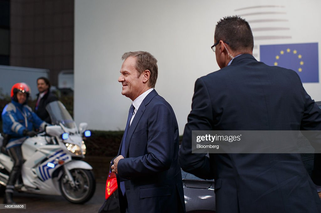 Donald Tusk, the European Union president, arrives for a European Union (EU) summit meeting in Brussels, Belgium, on Thursday, Dec. 18, 2014. The EU outlawed the sale of some energy-exploration equipment to Crimea, seeking to prevent Russia from using the newly annexed Ukrainian peninsula to exploit Black Sea oil and gas deposits. Photographer: Jasper Juinen/Bloomberg via Getty Images