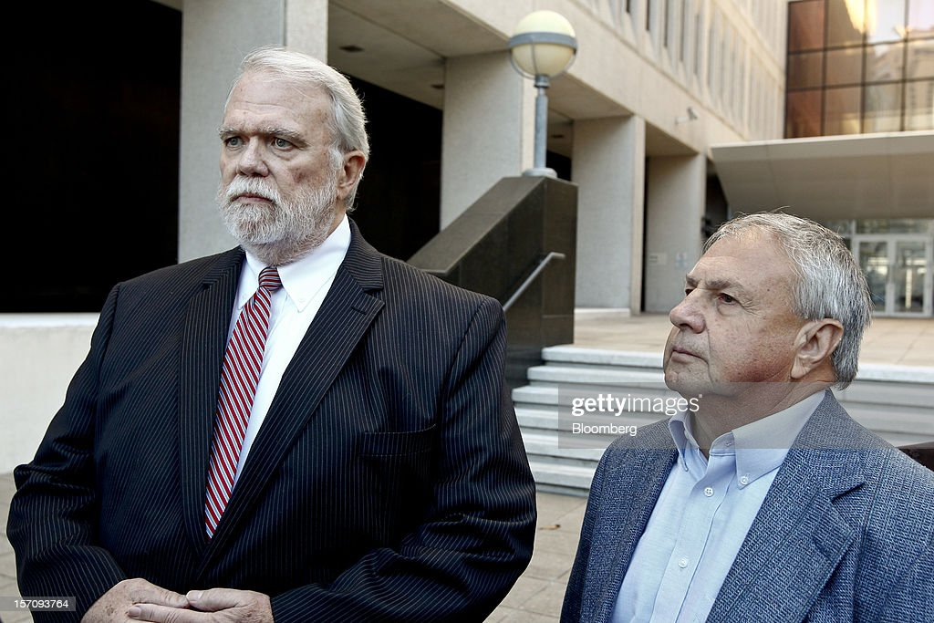 Donald Vidrine, a well site manager for BP Plc during the 2010 explosion on board the Deepwater Horizon oil rig, right, and his attorney Robert Habans, listen to a question from the media outside federal court in New Orleans, Louisiana, U.S., on Wednesday, Nov. 28, 2012. Vidrine and another site manager Robert Kaluza, were charged Nov. 15 with involuntary manslaughter, seaman's manslaughter and Clean Water Act Violations. The U.S. alleges that Kaluza and Vidrine ignored multiple indications that the well wasn't secure before the explosion that killed 11 aboard the drilling rig. Photographer: Derick E. Hingle/Bloomberg via Getty Images