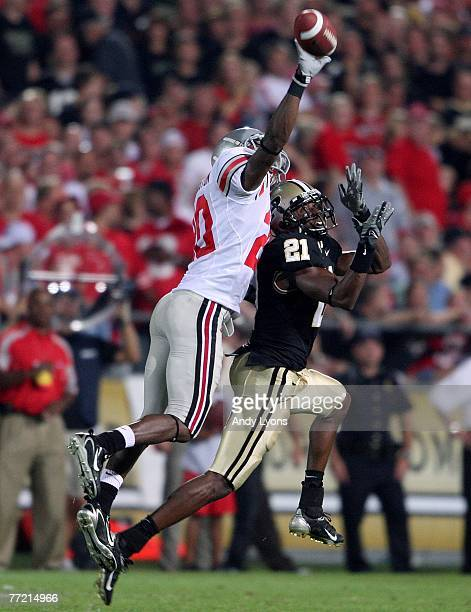 Donald Washington of the Ohio State Buckeyes knocks away a pass intended for Greg Orton of the Purdue Boilermakers during the game on October 6, 2007...
