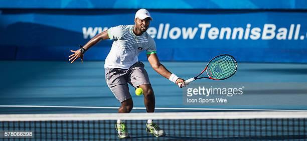 Donald Young defeats Bernard Tomic 46 64 62 during the 2015 Delray Beach Open by The Venetian Las Vegas at the Delray Beach Stadium Tennis Center...