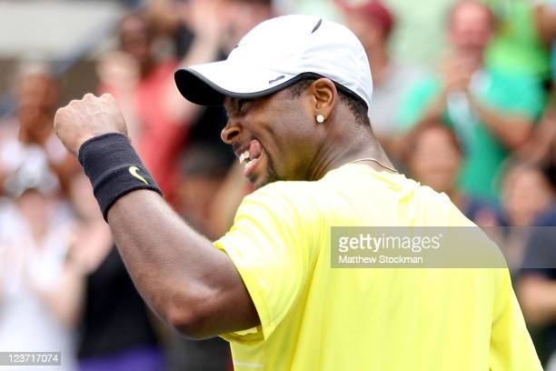 Donald Young of the United States celebrates after defeating Juan Ignacio Chela of Argentina during Day Seven of the 2011 US Open at the USTA Billie...