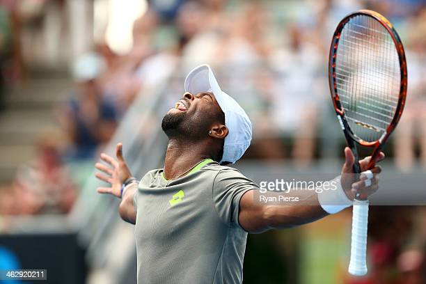 Donald Young of the United States celebrates winning his second round match against Andreas Seppi of Italy during day four of the 2014 Australian...