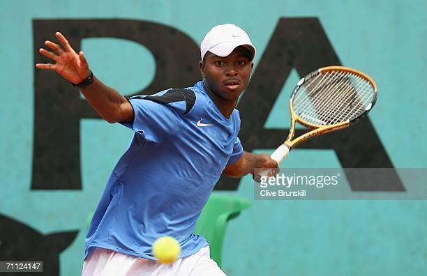 Donald Young of the United States in action against Ricardo UrzuaRivera of Chile during a boys junior match on day nine of the French Open at Roland...