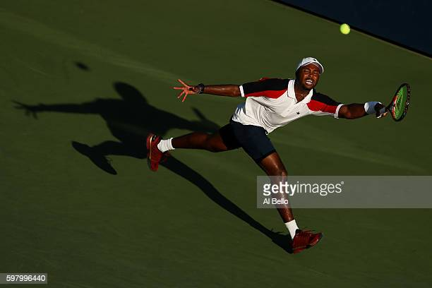Donald Young of the United States returns a shot to JanLennard Struff of Germany during his first round Men's Singles match on Day Two of the 2016 US...