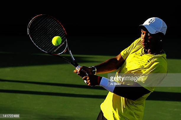 Donald Young of the USA in action against David Goffin of Belguim during Day 4 of the Sony Ericsson Open at Crandon Park Tennis Center on March 22...