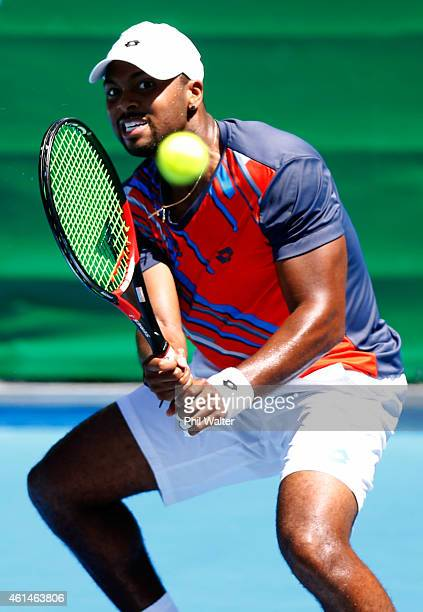 Donald Young of the USA plays a backhand in his singles match against Go Soeda of Japan during day two of the 2015 Heineken Open Classic at Auckland...