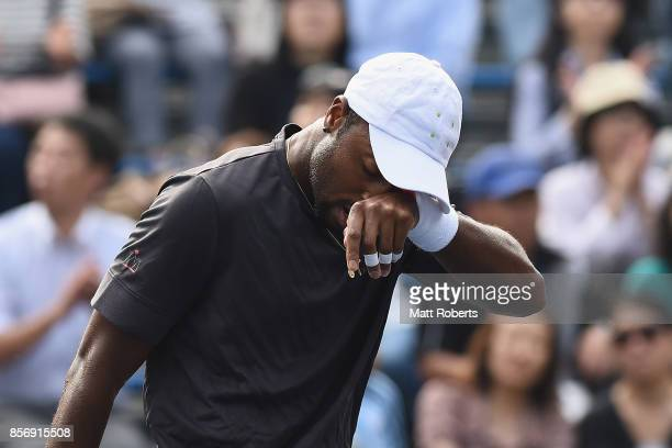 Donald Young of the USA reacts in his match against Diego Schwartzman of Argentina during day two of the Rakuten Open at Ariake Coliseum on October 3...