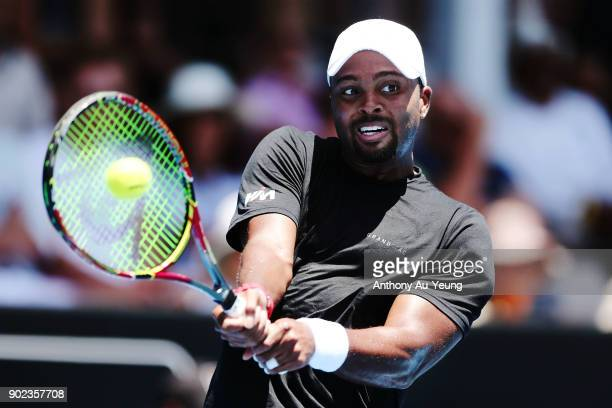 Donald Young of USA plays a backhand in his first round match against Joao Sousa of Portugal during day one of the ASB Men's Classic at ASB Tennis...