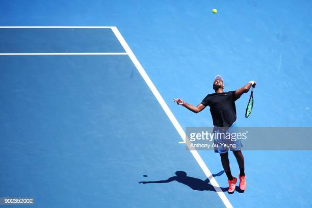 Donald Young of USA serves in his first round match against Joao Sousa of Portugal during day one of the ASB Men's Classic at ASB Tennis Centre on...