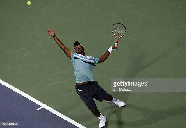 Donald Young serves to Lleyton Hewitt of Australia during Day 1 of the Legg Mason Tennis Classic at the William H.G. FitzGerald Tennis Center on...
