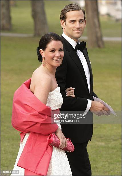 Donas Bergstrom and Emma Pernald boy friend of Madeleine and girlfriend of Karl Philip of Sweden in Stockholm Sweden on April 29 2006