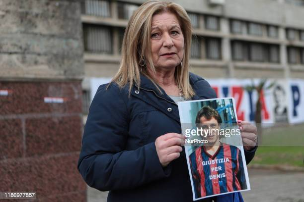 Donata Bergamini outside the court of Cosenza during the protest quottruth for Denis Bergaminiquot in Cosenza Italy on December 7 2019 Fans of...