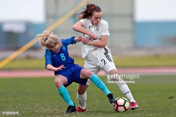 Donata von Achten of Girls Germany U16 challenges Anna Hightower of Girls Netherllands U16 during UEFA Development Tournament match between U16 Girls...