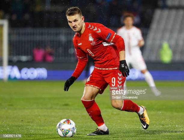 Donatas Kazlauskas of Lithuania in action during the UEFA Nations League C group four match between Serbia and Lithuania at Stadium FC Partizan on...
