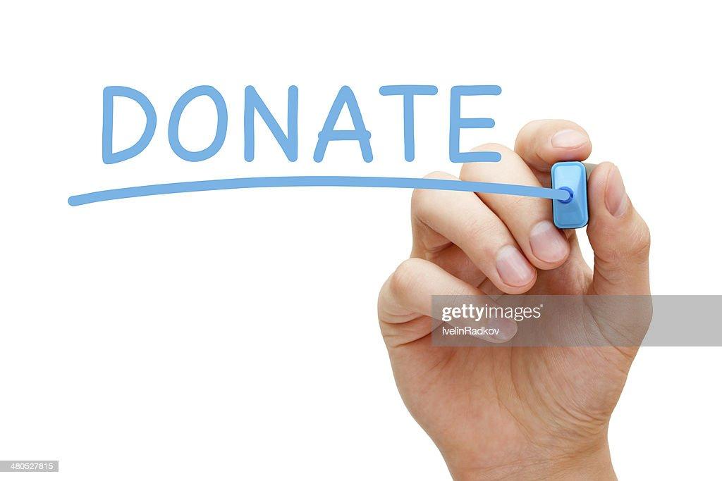 Donate Blue Marker : Stockfoto