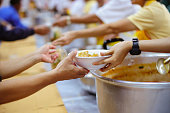 Donate to the poor homeless, Still seen in society : concept of charity food for the poor