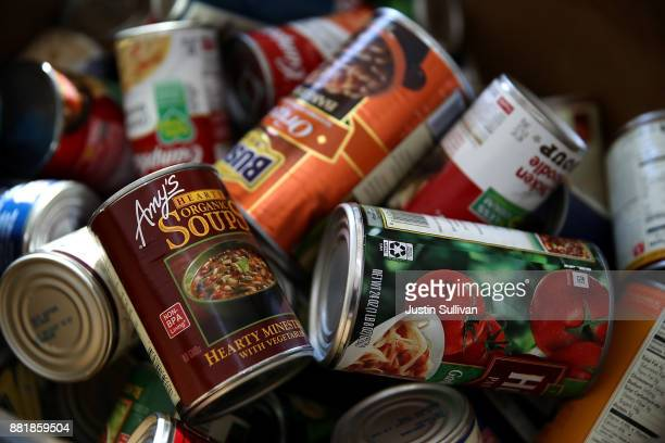Donated canned foods sit in a bin at San Mateo High School on November 29 2017 in San Mateo California San Mateo High School students are counting...