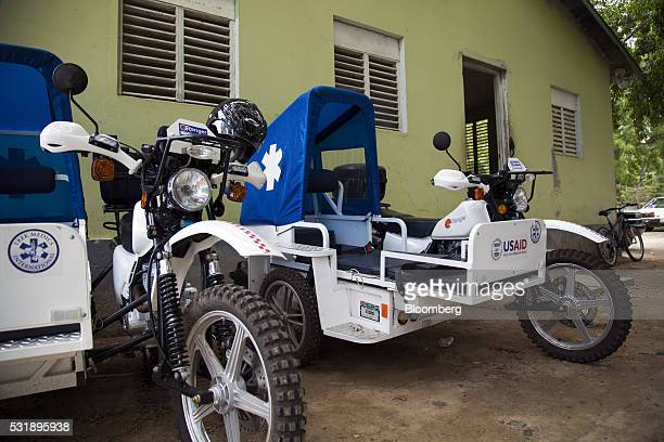 USAID donated emergency response motorcycles equipped with a sidecar gurney sit outside the Manzanillo Fire Department in Manaznillo Monte Cristi...