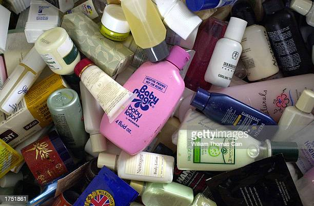 Donated items for soldiers' care kits include lotion sunscreen and lip balm at the Fort Dix Military Reservation January 29 2003 in Fort Dix New...