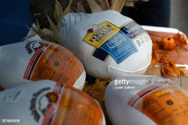 Donated Thanksgiving turkeys are displayed at the Redwood Empire Food Bank on November 15, 2017 in Santa Rosa, California. Hundreds of Sonoma County...