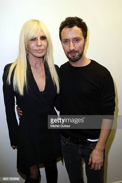 Donatella Versace and Anthony Vaccarello attend the Anthony Vaccarello show as part of the Paris Fashion Week Womenswear Fall/Winter 2015/2016 on...